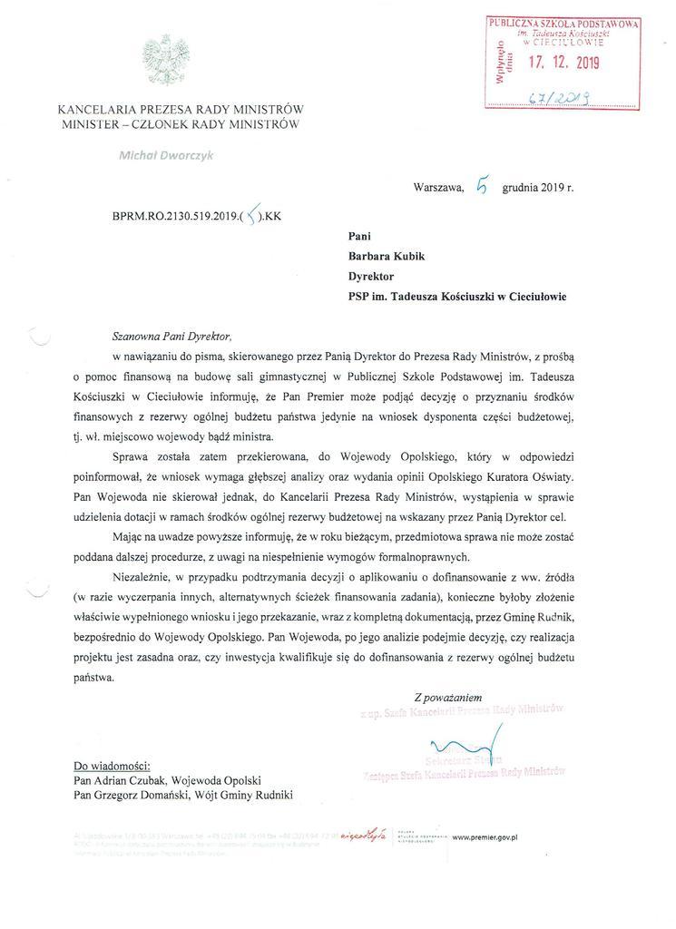 Pismo z Kancelarii Premiera do Dyrektora Szkoły.jpeg