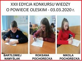 Galeria XXII edycja Konkursu Wiedzy o Powiecie Oleskim - 03.03.2020 r.